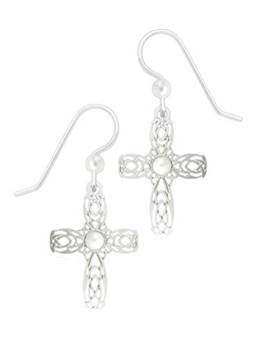 Sienna Sky Filigree Celtic Cross Pearlized Cabochon Earrings 1778