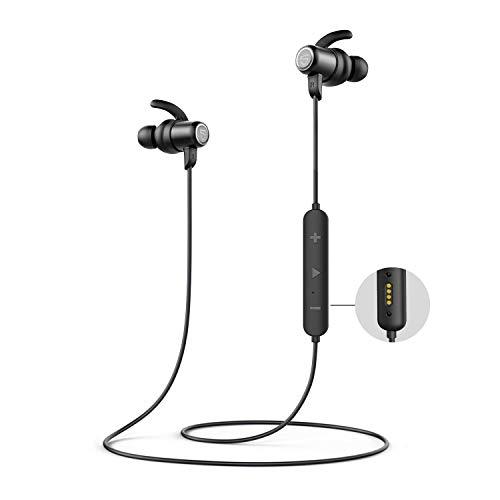SoundPEATS Audífonos Inalámbricos Bluetooth, Mini Audífonos Deportivos Q35HD IPX8 Resistente al Agua Hi-Fi Sonido Estéreo Cancelación de Ruido CVC in-ear Micrófono Incorporado con Accesorios de Auriculares Deportivos 14Hora iOS y Android
