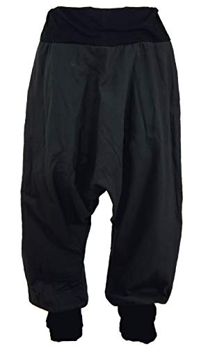 GURU SHOP Afghani Hose, Unisex Pluderhose, Goa Hose Aladinhose - Schwarz, Herren, Baumwolle, Size:S/M (50), Hosen Alternative Bekleidung