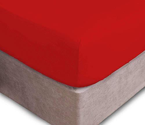 Prime Lines UK Bedding - Lenzuola con Angoli, in Morbido Policotone, 40 cm, per Letto Singolo, Rosso, Singolo