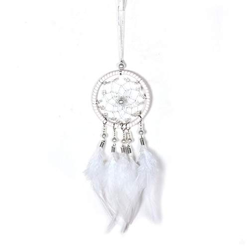 Malicosmile Dream Catchers for Cars Rear View Mirror, Small White Feather Dream Catcher Wall Hanging Decorations Car Charm Ornament