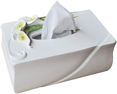 KMILE Caja de pañuelos europea minimalista creativa sala de estar hogar resina cala lirio bandeja decorativa blanca 23x13.5x12cm caja de pañuelos