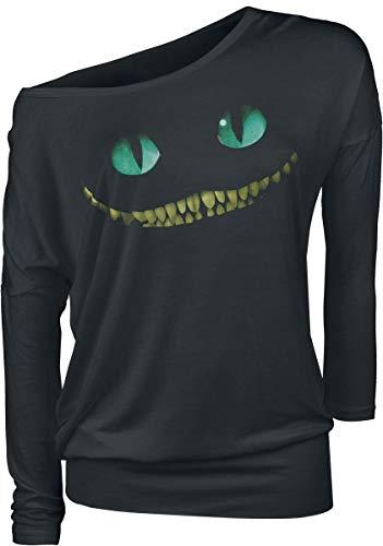 Alice im Wunderland Grinsekatze - Lächeln Langarmshirt schwarz S