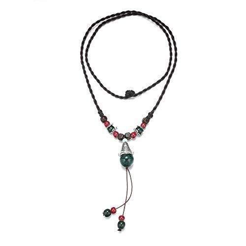 Collares para Mujer,Cerámica Collares Y Colgantes Largos Rojo Verde Gota De Agua Mujer Cuerda Cadena Joyería Regalo-B
