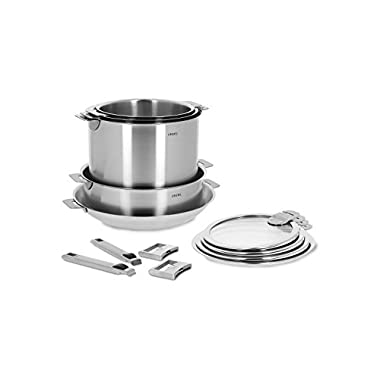 Cristel STQL13KSAS Strate Set of Handles, 13 Piece, Silver
