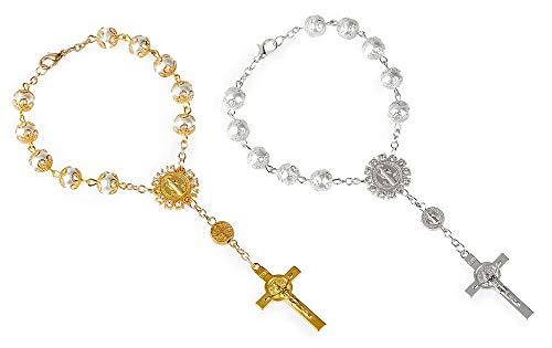 Fontee® 2 Stück Katholisches Armband für Frauen, Kreuz Armbänder Katholischer Rosenkranz Jesus Anhänger, Ostern, Thanksgiving und Weihnachten, Gold und Silber