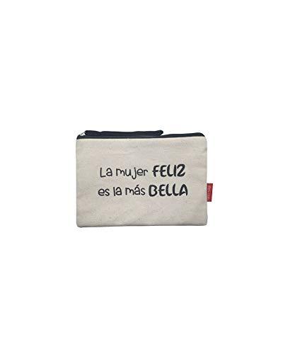 Hello-Bags Bolso Neceser/Cartera de Mano. Algodón 100%. Blanco. con Cremallera y Forro...