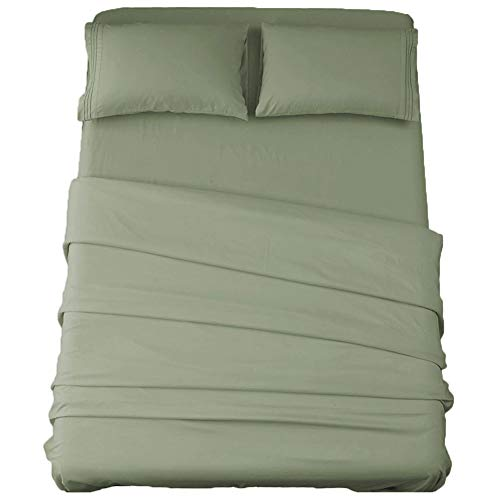 Sonoro Kate Bed Sheet Set Super Soft Microfiber 1800 Thread Count Luxury Egyptian Sheets 16-Inch Deep Pocket,Wrinkle and Hypoallergenic-4 Piece (Sage, Queen)