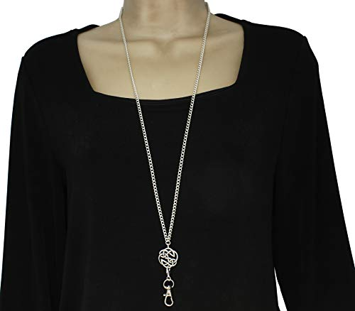 Detachable Celtic Pendant Lanyard Necklace, Wear as Lanyard or Long Necklace with Use of Front Clasp, 7 Different Pendants, Silver Plated