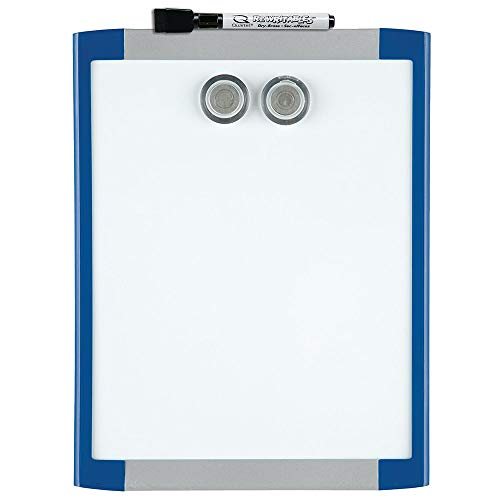 """Quartet Magnetic Whiteboard, 8-1/2"""" x 11"""" White Board for Wall, Dry Erase Board for Kids, Perfect for Home Office & Home School Supplies, 1 Dry Erase Marker, 2 Magnets, Blue Frame (MHOW8511-BU)"""