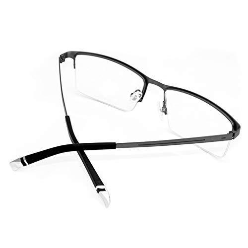 Mode Männer Anti-Blaulicht Brille Halbrahmen Metall Brille Rahmen Computer Blaulicht Filter Anti-Müdigkeit Flachspiegel-B