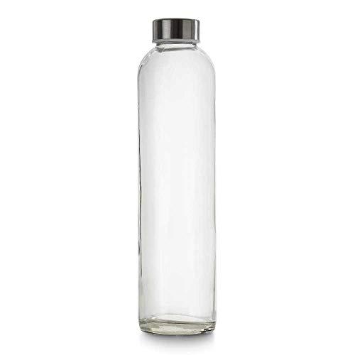 BrandPrint, Bottiglia in Vetro per Acqua Modello EOS 750 ml con Tappo a Vite in Acciaio Inox. per Bevande e Succhi.