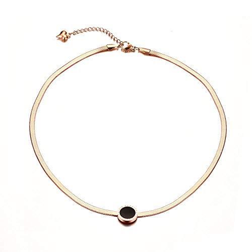 Collana da donna alla moda, 12 Mmlove Forever, in acciaio inox, piatta, in oro rosa