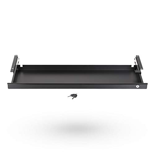 Tiroir sous Bureau Fermant à Clé 850 x 265 x 45 mm noir Tiroir de Rangement pour Bureau de SO-TECH®