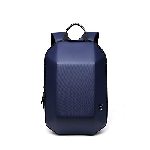 Professional Business Laptop Backpack Hard Shell Stereo Geometry Design Daily Lives Durable Shockproof Knapsack for Unisex Navy Southlane-8971/Lan