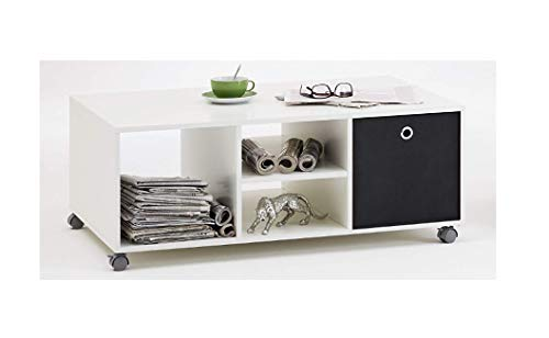 LHS HARRY - Coffee Table Finished in White With Castor Wheels, 4 Storage Spaces Includes Anthracite Canvas Storage Box