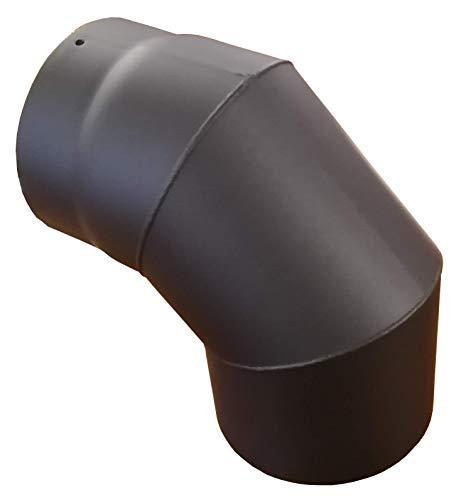 Tuyau de poêle coude à 90° Ø150 mm thermolaqué (épaisseur 2 mm) noir/gris (Noir) (115)