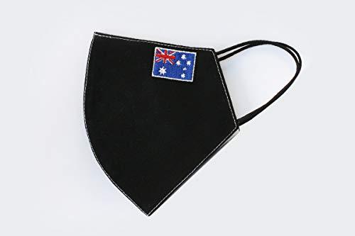 Faltbare Gesichtsmaske, mit bestickter Länderflagge, wiederverwendbar und waschbar, Anti-Staub, 100 % Baumwolle (Australien – groß)