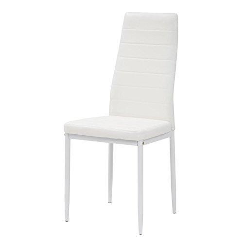 Cribel Queen Lot de 4 chaises, métal laqué, Simili Cuir, Blanc