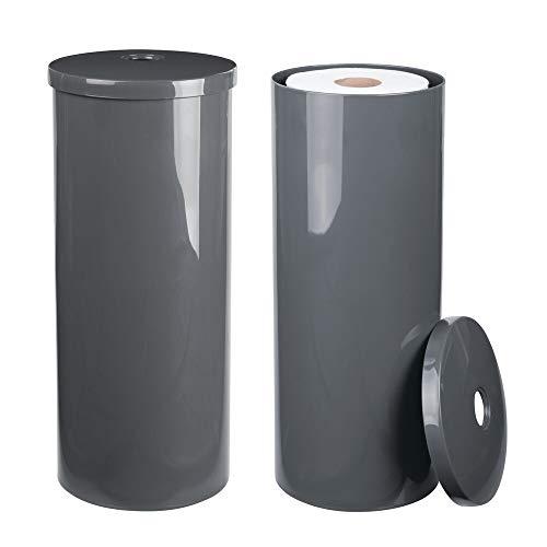 mDesign 2er-Set Toilettenpapierhalter freistehend – eleganter Klopapierhalter für jeweils 3 Rollen – Toilettenrollenhalter aus robustem Kunststoff ideal für kleine Räume – grau