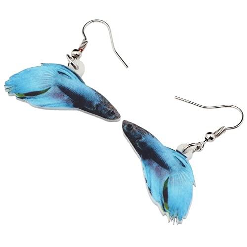 Pendientes Acrílico Azul Rumble Pez Pendientes Cuelgan Gota Novedad Ocean Marine Joyería para Niñas Mujeres Señoras Encantos Regalo