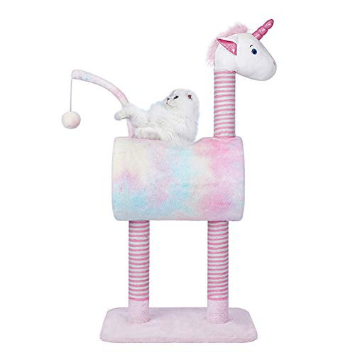 Tofern Unicorn Cat Tree Condo Furniture Plush Kitten Activity Tower Dangling Ball with Scratching Posts Pet Play House