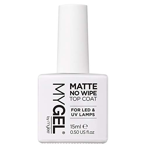 Mylee Esmalte Protector Transparente Mate Sin Limpieza para Esmalte de Uñas de Gel UV LED 15ml – Acabado Rápido, Fácil y Duradero para Uñas Naturales, Extensiones de Acrílico y Puntas