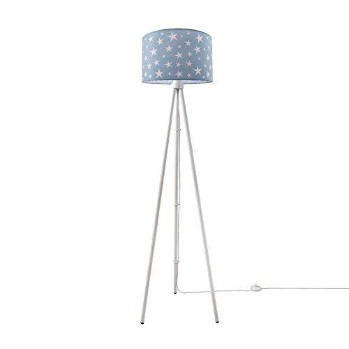 Kinderlampe Stehlampe LED Kinderzimmer, Sternen-Motiv, Deko Stehleuchte E27, Lampenfuß:Dreibeinig Weiß, Lampenschirm:Turquoise (Ø38 cm)