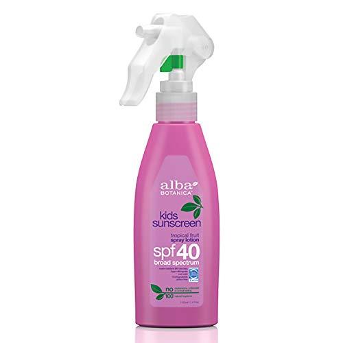 Alba Botanica Kids Sunscreen Spray Lotion, SPF 40, Tropical Fruit, 4 Oz