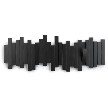 Umbra Sticks - Porte Manteau Mural, 5 Crochets Rabattables, Noir