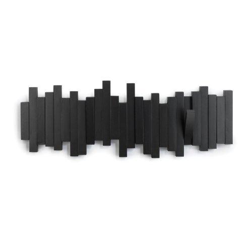 Umbra Stäbchen Garderobenhaken – Moderne und Platzsparende Garderobenleiste mit 5 Beweglichen Haken für Jacken, Mäntel, Schals, Handtaschen und Mehr, Schwarz