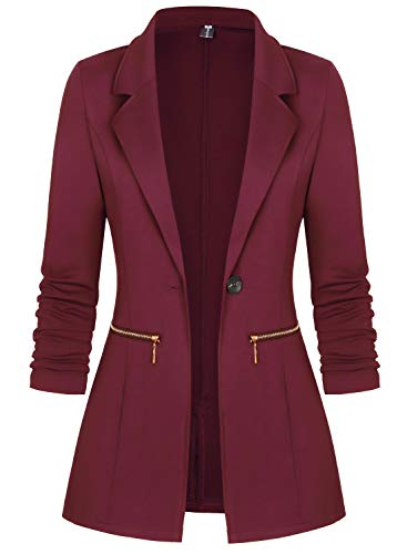 COOFANDY Men's Lightweight Sports Coats Two Button Cotton Casual Suit Blazer Jackets Cotton Sleepwear Wine Red