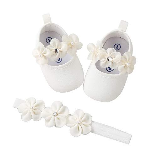 Baby Mädchen Lauflernschuhe Schuh Freizeitschuhe Sneaker rutschfeste Weiche Sohle Krabbelschuhe + Haarband (0~6 Month, Weiß)