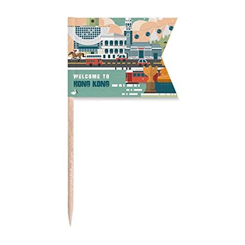 Wellcome to Hong Kong China Zahnstocher Flaggen Markierung für Party Kuchen Lebensmittel Käseplatte
