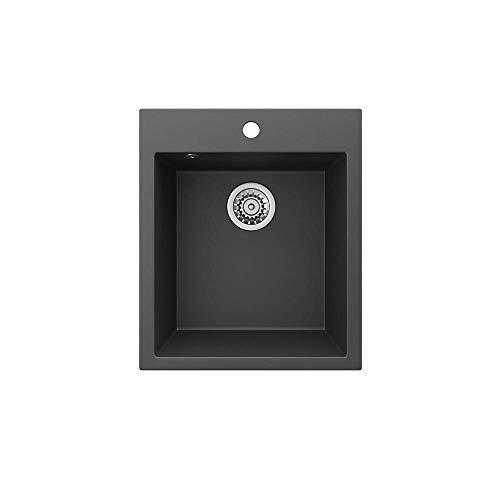 """Bergström Granitspüle\""""Venedig\"""" inkl. Siphon Küchenspüle Einbauspüle 425x500mm (Schwarz)"""
