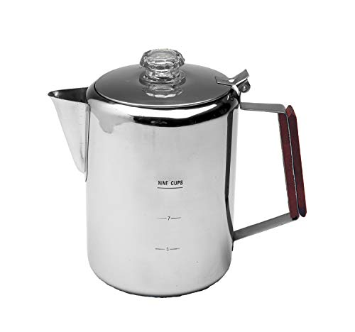 Texsport 9 Cup Stainless Steel Percolator Coffee Maker for Outdoor Camping