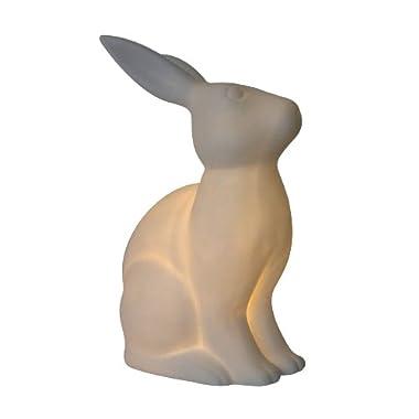 Simple Designs LT3058-WHT White Porcelain Animal Shaped Table Lamp, Bunny Rabbit