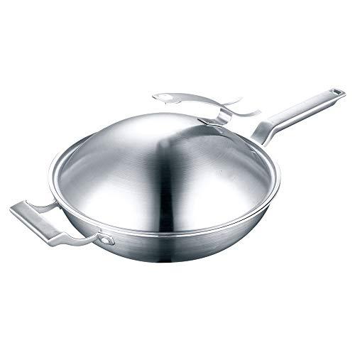 Duurzame 5-Ply Gourmet Ongecoate Inductie Wok - Wok Diepte 9,5 cm - Fry Pan Voor Thuis Keuken Of Restaurant - Chef's Choice Roer-Fry Pans