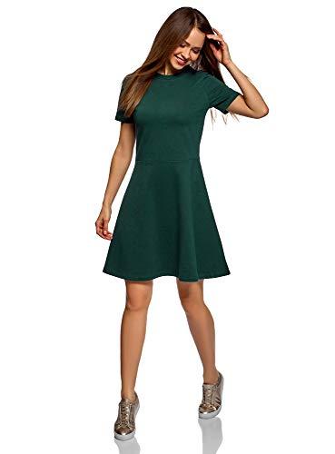 oodji Ultra Damen Tailliertes Kleid mit Reißverschluss, Grün, DE 38 / EU 40 / M