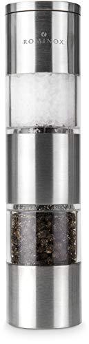 ROMINOX Geschenkartikel Salz- und Pfeffermühle // Dumelo – Manuelle Duo-Gewürzmühle, schlanke Form, Zwei getrennte, verstellbare Keramikmahlwerke mit Deckel; Maße: ca. 4.4 x 4.4 x 19.6 cm