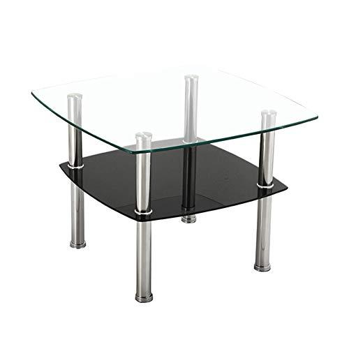 Kleine salontafel van glas 2-traps theetafel met opbergplank van gehard glas poten van roestvrij staal voor de lounge, zwart
