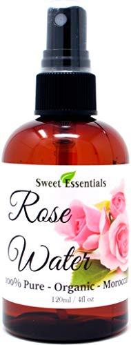 rose waters Premium Organic Moroccan Rose Water - 4oz W/Sprayer - Imported From Morocco - 100% Pure (Food Grade) No Oils or Alcohol - Rich in Vitamin A & C Perfect for Hydrating & Rejuvenating Your Face & Neck
