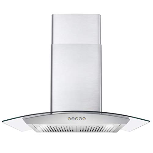 Cosmo COS-668WRC75 Wall Mount Range Hood with Ducted Exhaust Vent, 3 Speed Fan, Push Button Controls, LED Lighting, Permanent Filters...