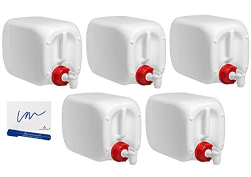 MARKESYSTEM - Garrafa bidón plástico HPDE (10 Litros) PACK 5 Uds + Grifos + Kit Etiquetado - Rosca boca ancha - Homologada ADR - Apilable. Apta uso alimentario. Ideal como depósito líquidos y químicos