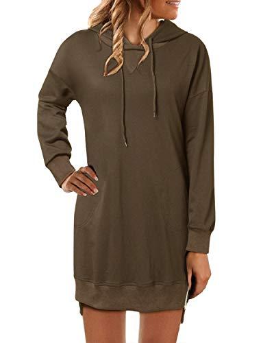 YOINS Manteau Automne Hiver Femme Pull à Capuche Hoodies Coton Sweat Capuche Sweatshirt Robe à Capuche Femme Manches Longues,B-brun,XXL