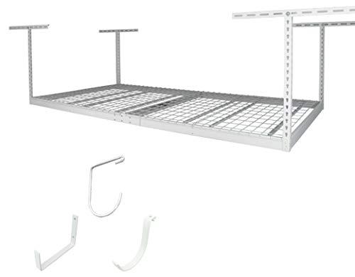SafeRacks 4x8 Single Rack Package w/Accessory Hooks 12-21' Drop, White