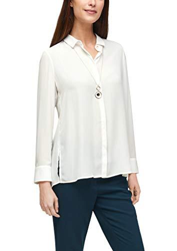 s.Oliver BLACK LABEL Damen Bluse mit Plisseefalten hinten Soft White 44