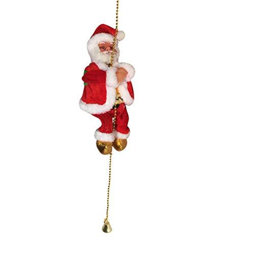 SIRIGOGO Escalera eléctrica de escalada de Papá Noel, figura de Navidad, adorno para regalos de árbol de Navidad