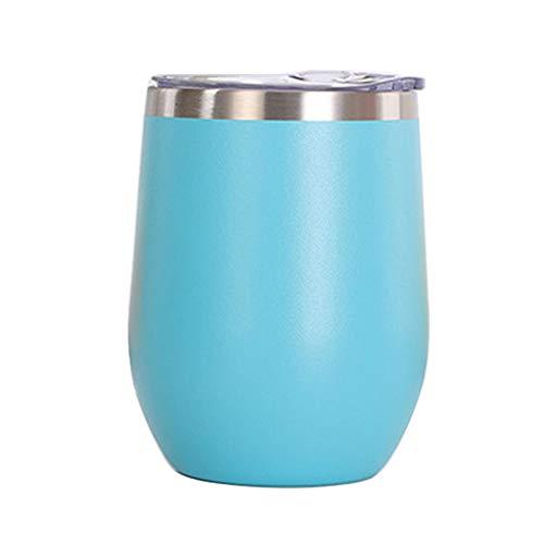 Vaso de Agua de Acero Inoxidable con Tapa, 12 oz Vacío de Doble Pared Vacío Vacipador Copa para café, Vino, cócteles, Helado,Light Blue