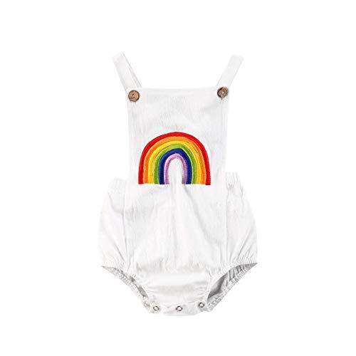 Body sin mangas para bebé recién nacido, de algodón, halter arcoíris y camisola de una sola pieza, pijama, Rainbow blanco, 12-18 Meses
